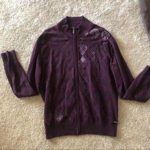 Men's NWT Maroon Jacquard Zip up jacket size L